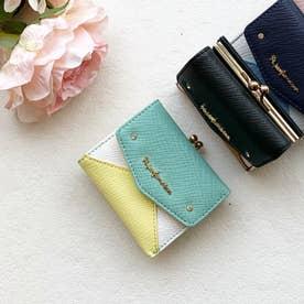 【Pi ピーアイ】合皮のカラフル配色 がま口付き3つ折り財布  (MI)