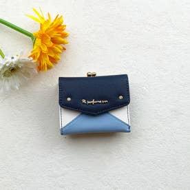 【Pi ピーアイ】合皮のカラフル配色 がま口付き3つ折り財布 (NV)