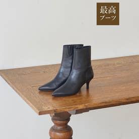 【最高ブーツ/ミラノ】ポインテッドトゥブーツ (ブラック)