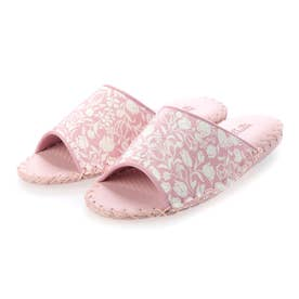 ちりめん生地に花柄がかわいい!【日本製】手編みルームシューズ (ピンク)