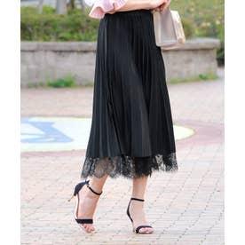 裾レースプリーツスカート 2.ブラック