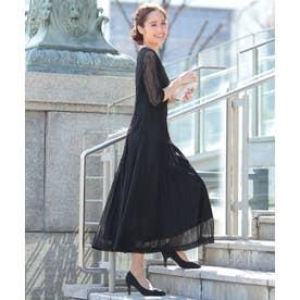 レーススリーブ マキシ丈 ワンピース ドレス (ブラック)