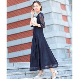 レーススリーブ マキシ丈 ワンピース ドレス (ネイビー)