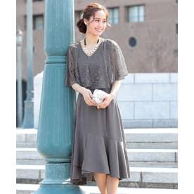 ケープ ドッキング Vネック ミモレ丈 ワンピース ドレス (グレー)