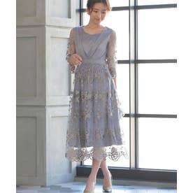 花柄 刺繍 レース シアー ミモレ丈 ワンピースドレス (グレージュ)