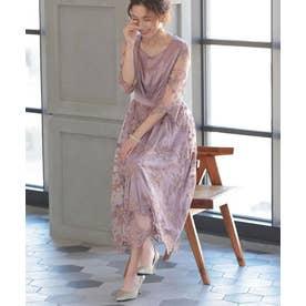 花柄 刺繍 レース シアー ミモレ丈 ワンピースドレス (モカ)