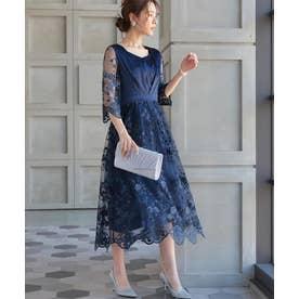 花柄 刺繍 レース シアー ミモレ丈 ワンピースドレス (ネイビー)