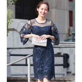 シースルー 花柄 レース 七分袖 結婚式・パーティードレス (ネイビー)