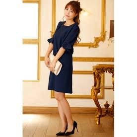 五分袖 フリル デザイン ワンピースドレス (ネイビー)