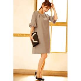 五分袖 フリル デザイン ワンピースドレス (モカ)