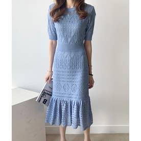 ペチコート付き 半袖 クロシェ編み ワンピース (ブルー)