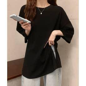 アシメ スリット 半袖 Tシャツ (ブラック)