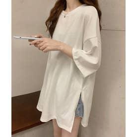 アシメ スリット 半袖 Tシャツ (ホワイト)