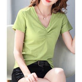 フロント ギャザー Vネック 半袖 Tシャツ (グリーン)