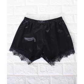 裾レース ショート丈 ペチコート パンツ (ブラック)