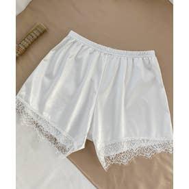 裾レース ショート丈 ペチコート パンツ (ホワイト)