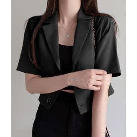 テーラーカラー 半袖 ショート サマー ジャケット (ブラック)