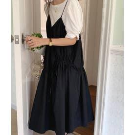 Tシャツセット アシメギャザー ジャンパースカート (ブラック)