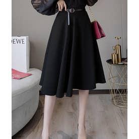 ミモレ丈 フレア シンプル スカート (ブラック)