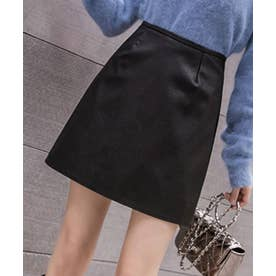 マット フェイクレザー 台形 ミニスカート (ブラック)