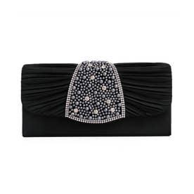パールビジュークラッチバッグ/結婚式・ドレススーツパーティーや二次会・成人式対応 (ブラック)