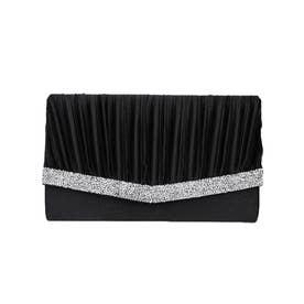 グリッタービジュークラッチバッグ/結婚式・ドレススーツパーティーや二次会・成人式対応 (ブラック)