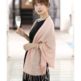 ドレススタイル カジュアルロング ラメストール・ショール/結婚式・ドレス羽織りパーティーや二次会・成人式対応 (ピンク)