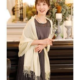 ドレススタイル カジュアルロング ラメストール・ショール/結婚式・ドレス羽織りパーティーや二次会・成人式対応 (ホワイト)