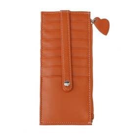 大容量カードケース/おしゃれ小銭カード入れスリム/薄型レディース/ハートチャーム (オレンジ)