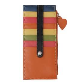 大容量カードケース/おしゃれ小銭カード入れスリム/薄型レディース/ハートチャーム (オレンジマルチ)