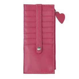 大容量カードケース/おしゃれ小銭カード入れスリム/薄型レディース/ハートチャーム (ピンク)