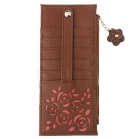 大容量カードケース花柄/おしゃれ小銭カード入れスリム/薄型レディース/花 (ブラウン)
