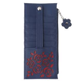 大容量カードケース花柄/おしゃれ小銭カード入れスリム/薄型レディース/花 (ネイビー)