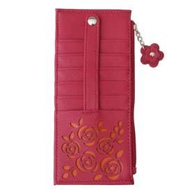 大容量カードケース花柄/おしゃれ小銭カード入れスリム/薄型レディース/花 (ピンク)