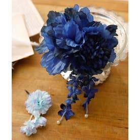 髪飾りセット(20種)浴衣・着物・和装用 (ブルー)