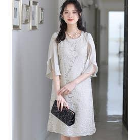 スリーブレース ロングスカート/結婚式ワンピース お呼ばれ・二次会・セレモニー大きいサイズ対応フォーマルパーティードレス (アイスグレー)