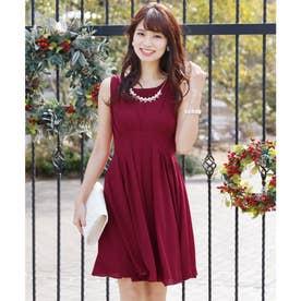 タックシフォン ロングスカート/結婚式ワンピース お呼ばれ・二次会・セレモニー大きいサイズ対応フォーマルパーティードレス (ボルドー)