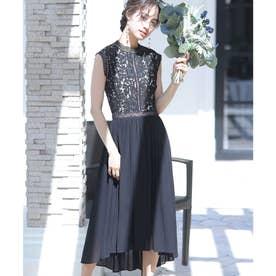 ヴィンテージライクレース ロングスカート/結婚式ワンピース・同窓会・成人式・セレモニー大きいサイズ対応フォーマルパーティードレス (ブラック)