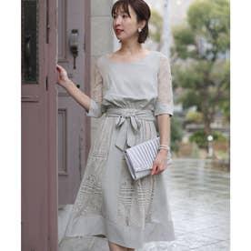 フラワーレースリボン ロングスカート/結婚式ワンピース お呼ばれ・二次会・セレモニー大きいサイズ対応フォーマルパーティードレス (アイスグレー)