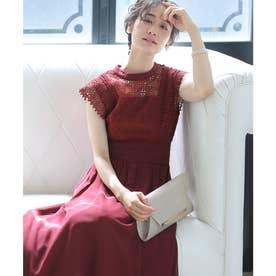 クロシェレース ロングスカート/結婚式ワンピース お呼ばれ・二次会・セレモニー大きいサイズ対応フォーマルパーティードレス (ボルドー)
