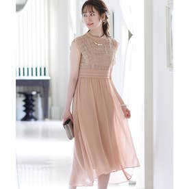 クロシェレース ロングスカート/結婚式ワンピース お呼ばれ・二次会・セレモニー大きいサイズ対応フォーマルパーティードレス (ローズピンク)
