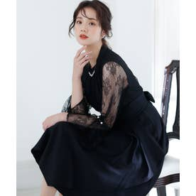 ラッセルレースフレア ロングスカート/結婚式ワンピース お呼ばれ・二次会・セレモニー大きいサイズ対応フォーマルパーティードレス (ブラック)