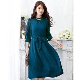 クラシカルリボンロングスカートドレス・ ロングスカート/結婚式ワンピース お呼ばれ・二次会・セレモニー大きいサイズ対応フォーマルパーティードレス (ピーコックグリーン)
