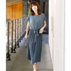 クリスタルプリーツ ロングスカート/結婚式ワンピース お呼ばれ・二次会・セレモニー大きいサイズ対応フォーマルパーティードレス (グレイッシュブルー)