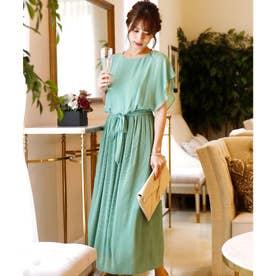 クリスタルプリーツ ロングスカート/結婚式ワンピース お呼ばれ・二次会・セレモニー大きいサイズ対応フォーマルパーティードレス (ダークグリーン)