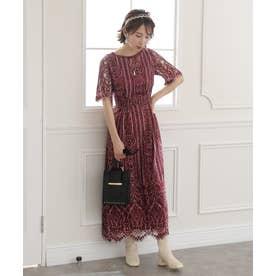 フラワースカラップドレス ロングスカート/結婚式ワンピース・同窓会・成人式・セレモニー大きいサイズ対応フォーマルパーティードレス (ボルドー)