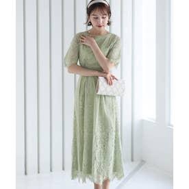フラワースカラップドレス ロングスカート/結婚式ワンピース・同窓会・成人式・セレモニー大きいサイズ対応フォーマルパーティードレス (ミントグリーン)