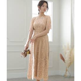 フラワースカラップドレス ロングスカート/結婚式ワンピース・同窓会・成人式・セレモニー大きいサイズ対応フォーマルパーティードレス (ローズピンク)
