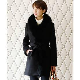 フォックスファーボタンフェミニンコート/秋冬 結婚式対応 冬 コート (ブラック)