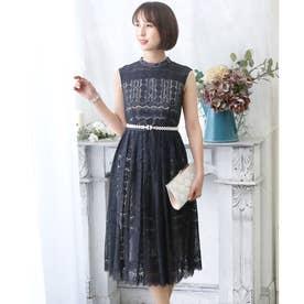 オールレースハイネックドレス (ネイビー)